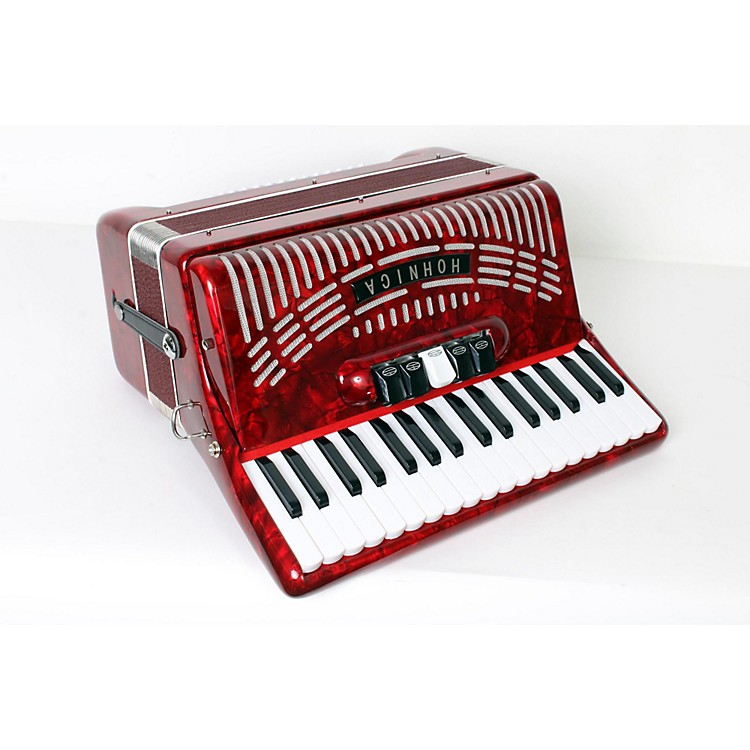 Hohner 72 Bass Entry Level Piano Accordion Red 888365832791