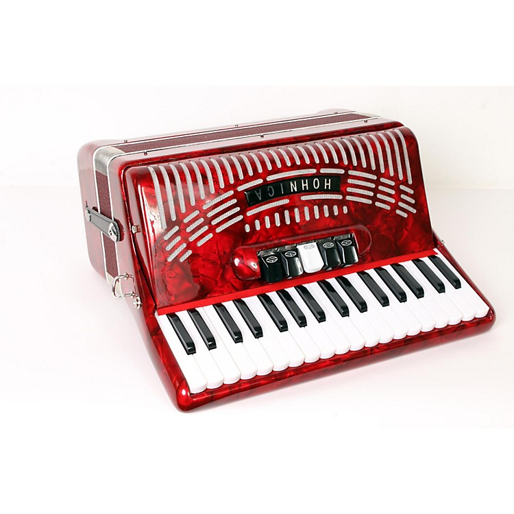 Hohner 72 Bass Entry Level Piano Accordion Red 888365902685
