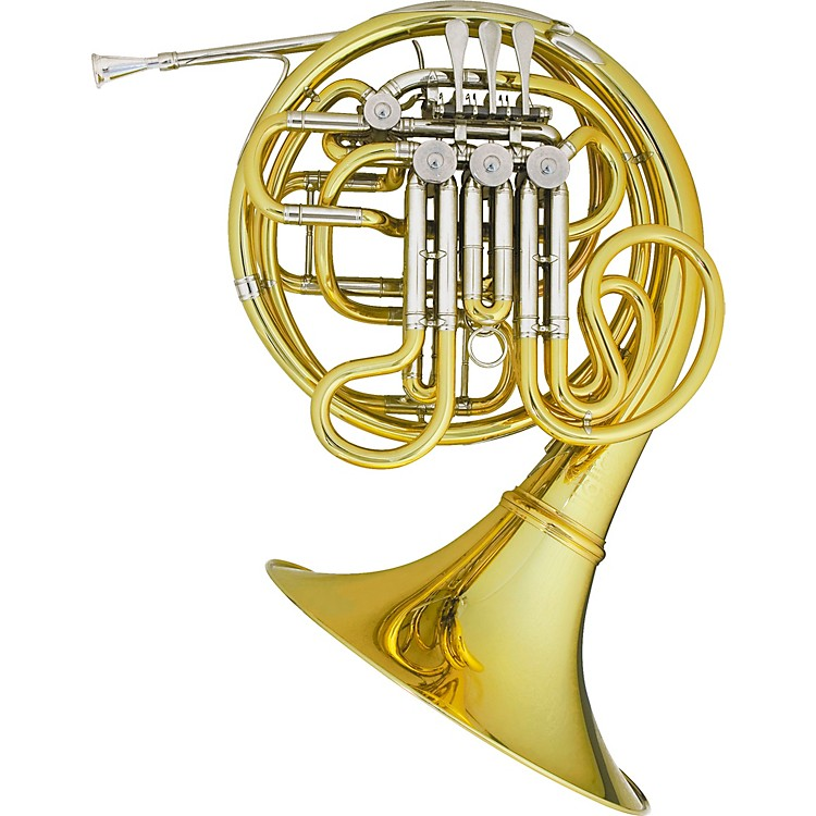 Hans Hoyer 7801 Heritage Kruspe Style Series Double Horn with Mechanical Linkage and Fixed Bell Yellow Brass Fixed Bell