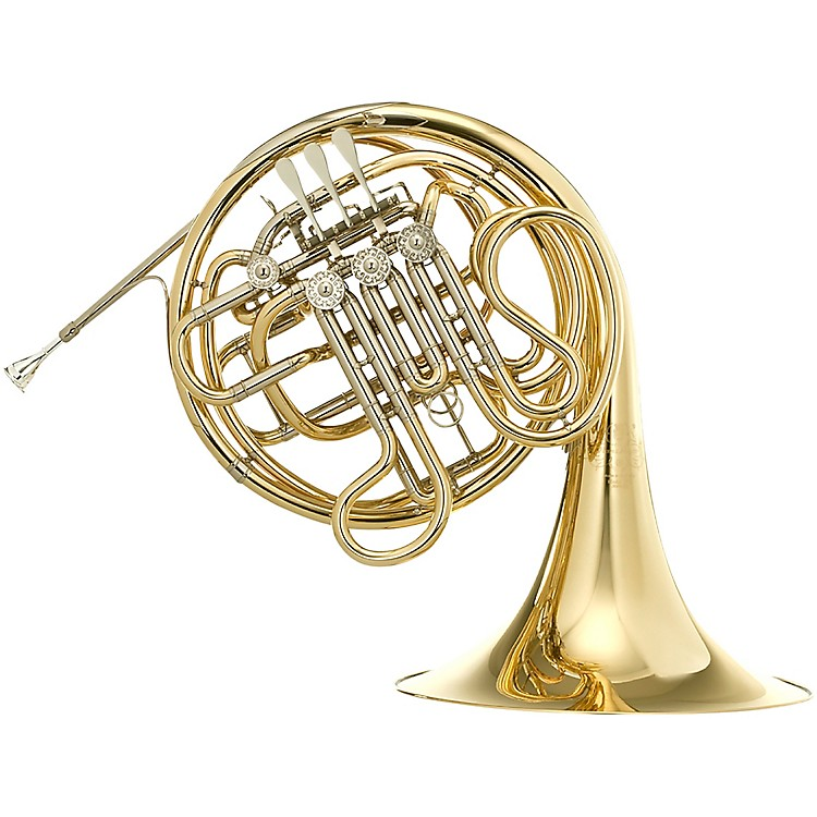 Hans Hoyer 7802 Heritage Kruspe Style Series Double Horn with String Linkage and Fixed Bell Yellow Brass Fixed Bell