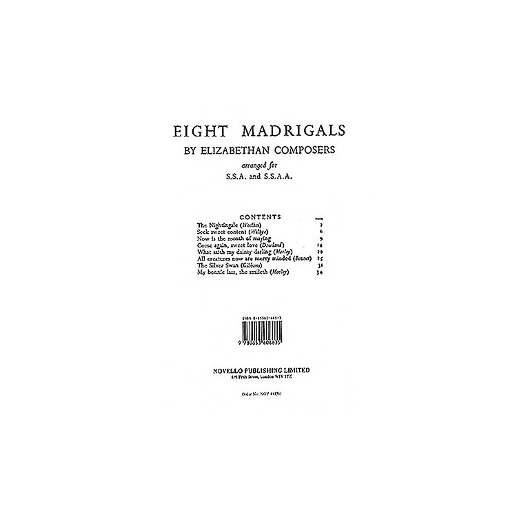 Novello8 Madrigals by Elizabethan Composers COLLECTION Composed by Various