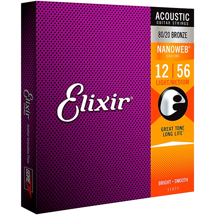 Elixir 80/20 Bronze Acoustic Guitar Strings with NANOWEB Coating, Light/Medium (.012-.056)