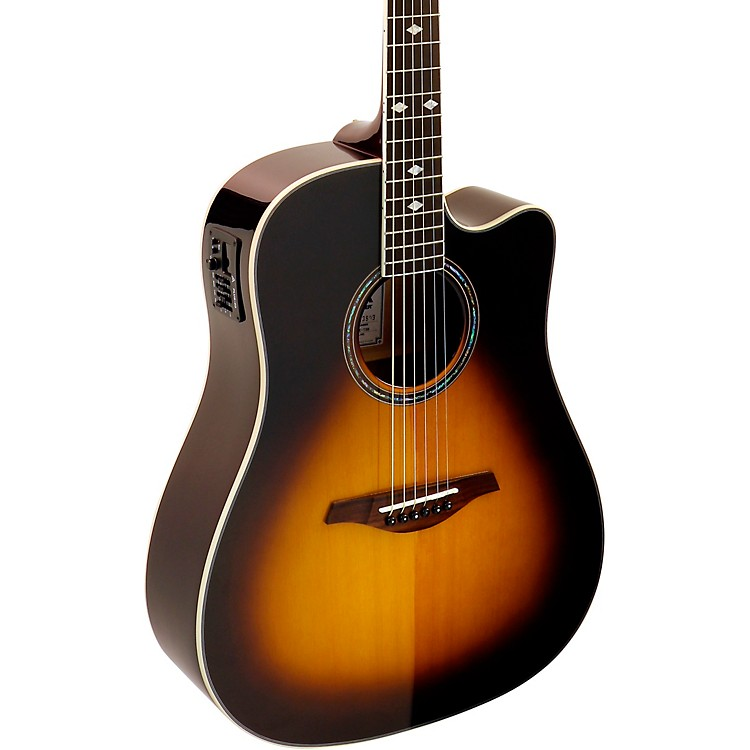 Hohner A+ AS355CE Solid Top Cutaway Dreadnought Acoustic-Electric Guitar With Gig Bag Tobacco Sunburst