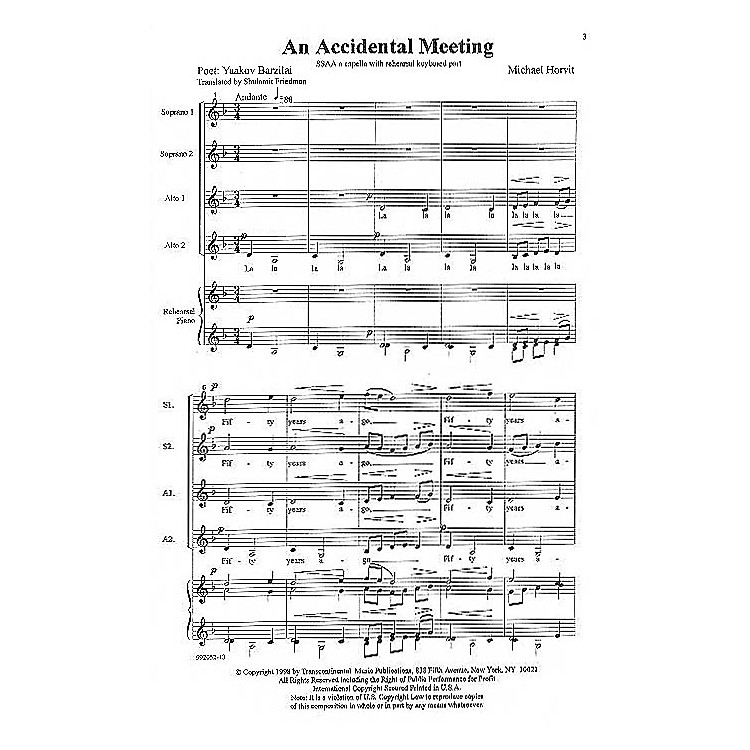 Transcontinental Music A Child's Journey SSAA composed by Michael Horvit