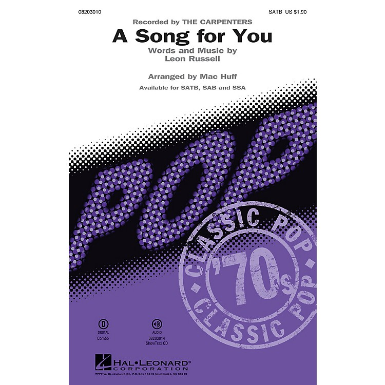 Hal LeonardA Song for You SATB by The Carpenters arranged by Mac Huff