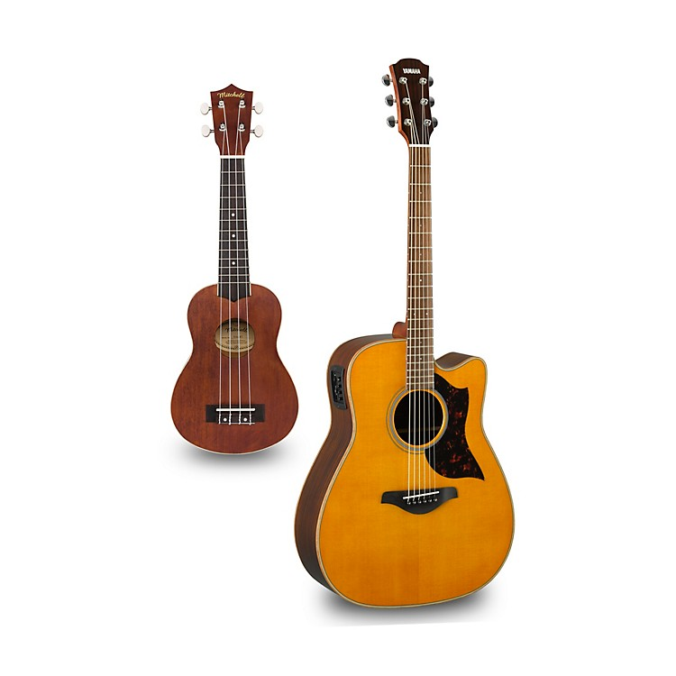 Yamaha A1R Cutaway Dreadnought Acoustic-Electric Guitar and Ukulele Package Natural