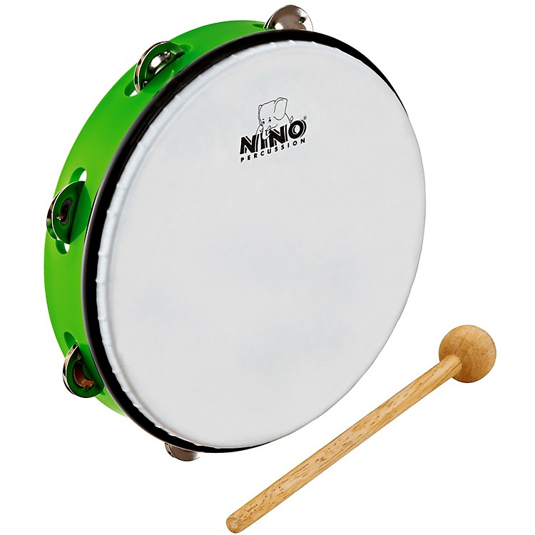 Nino ABS Tambourine w/Single Row of Jingles Grass Green 10 in.