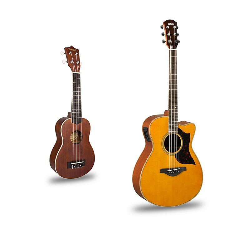 YamahaAC1M Cutaway Concert Acoustic-Electric Guitar and Ukulele PackageNatural