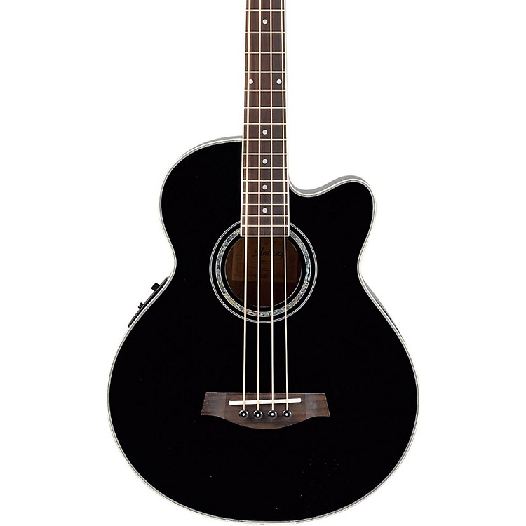 IbanezAEB10E Acoustic-Electric Bass Guitar with Onboard TunerGloss Black