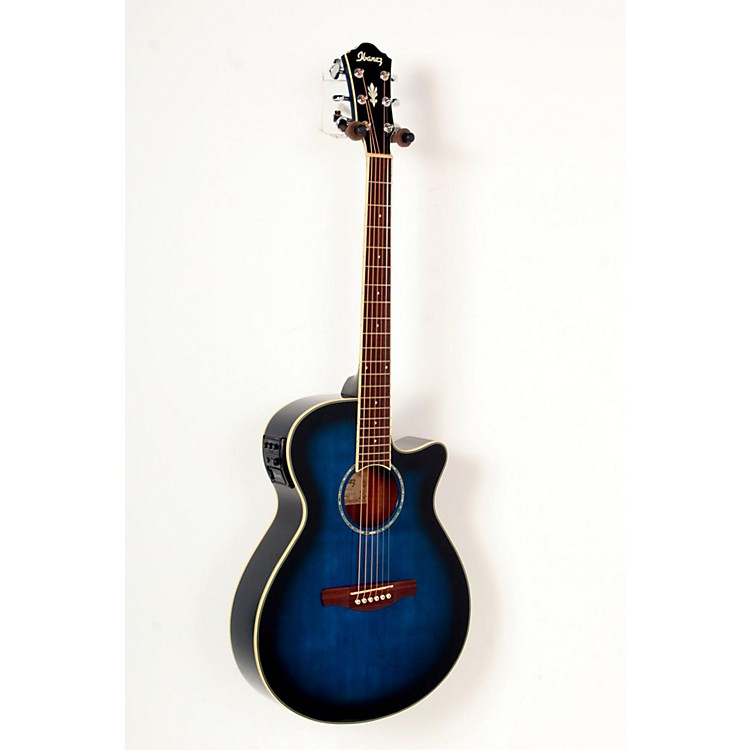 Ibanez AEG10II Cutaway Acoustic-Electric Guitar Transparent Blue Burst 888365813370
