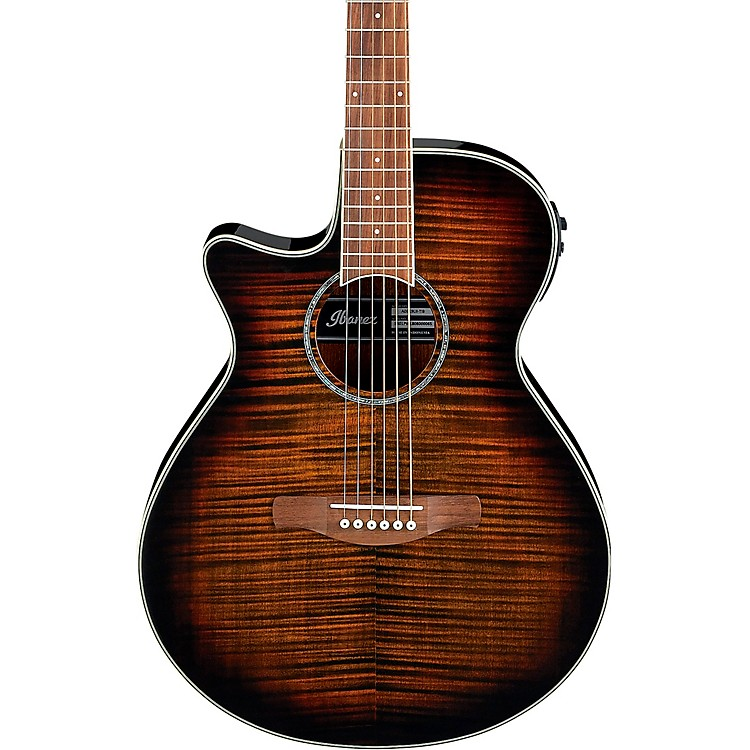 IbanezAEG19LII Left-Handed Acoustic-Electric Guitar with Flamed Maple TopTransparent Tiger Eye