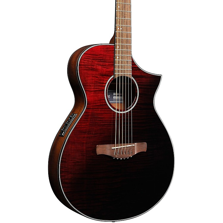Ibanez AEWC32FM Thinline Acoustic-Electric Guitar Transparent Red Sunburst