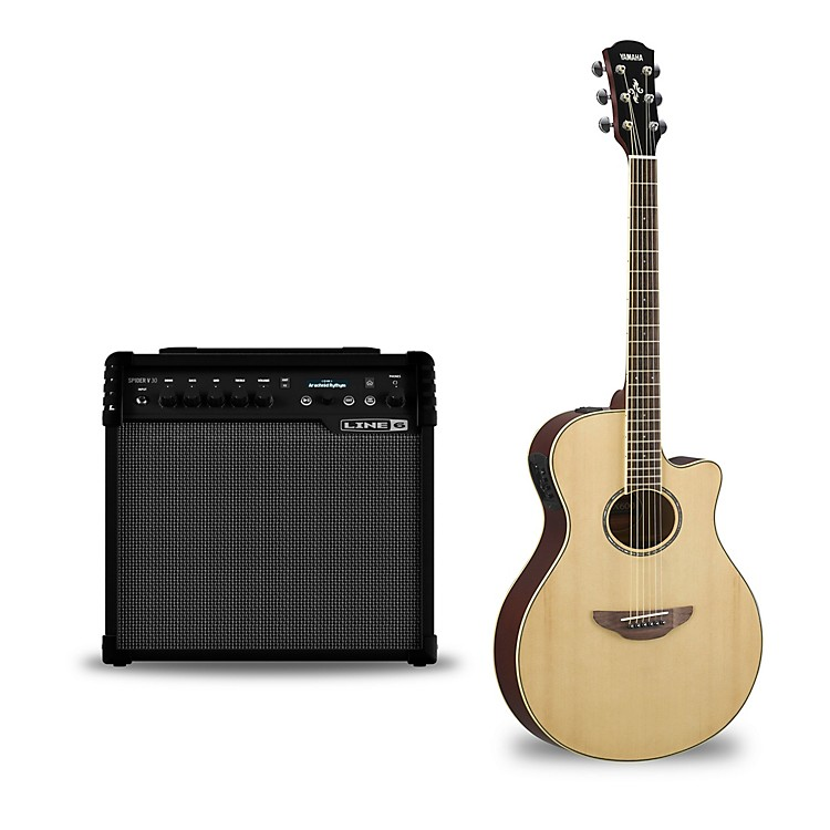 Yamaha APX600 Acoustic-Electric Guitar and Line 6 Spider V 30 Guitar Combo Amp Natural