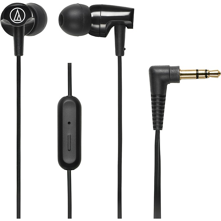 Audio-Technica ATH-CLR100IS SonicFuel In-ear Headphones with In-line Mic & Control Black