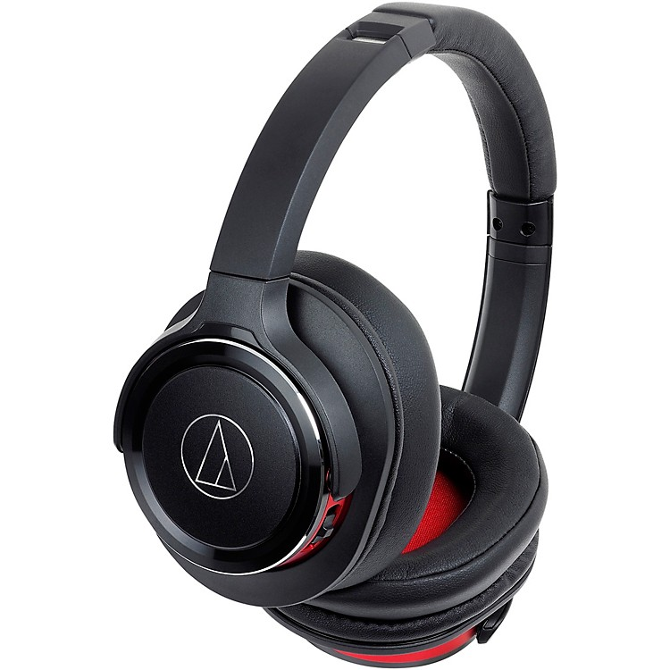 Audio-TechnicaATH-WS660BT Solid Bass Wireless Over-Ear Headphones with Built-in Mic & ControlBlack/Red