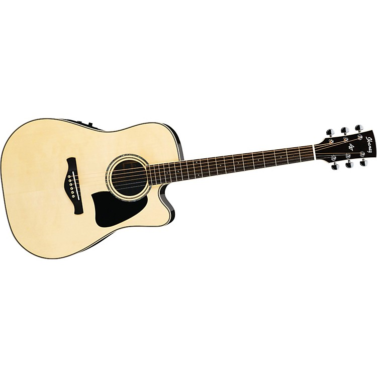 IbanezAW380ECENT Artwood Solid Top Dreadnought Cutaway Acoustic-Electric Guitar