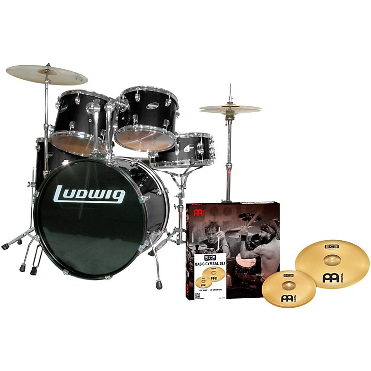 LudwigAccent Combo 5-piece Drum Set with Meinl CymbalsBlack