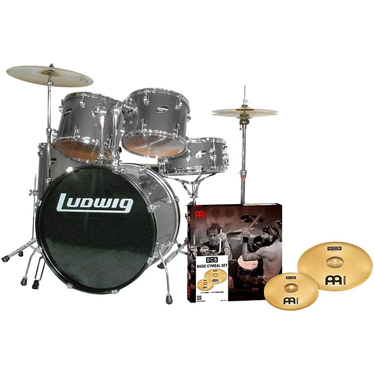 Ludwig Accent Combo 5-piece Drum Set with Meinl Cymbals Silver