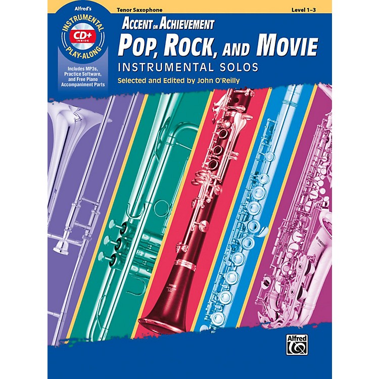 Alfred Accent on Achievement Pop, Rock, and Movie Instrumental Solos Tenor Saxophone Book & CD