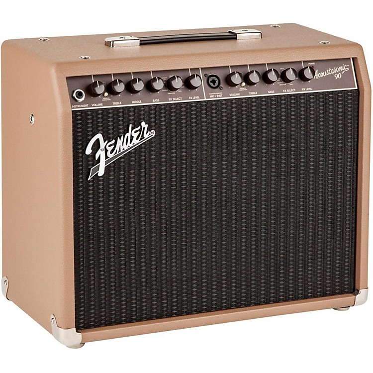 FenderAcoustasonic 90 90W Acoustic Combo AmpBrown Textured Vinyl Covering with Black Grille Cloth