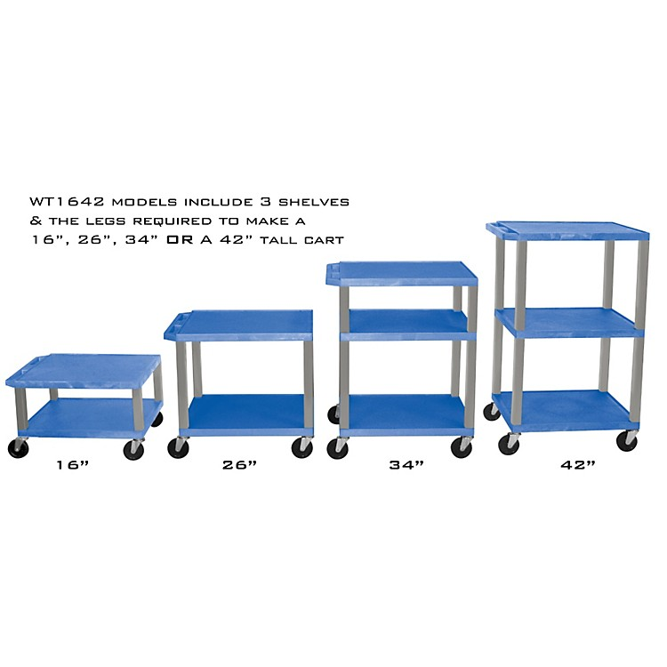 H. Wilson Adjustable-Height Open Shelf Tuffy Cart Blue and Nickel Small-Large