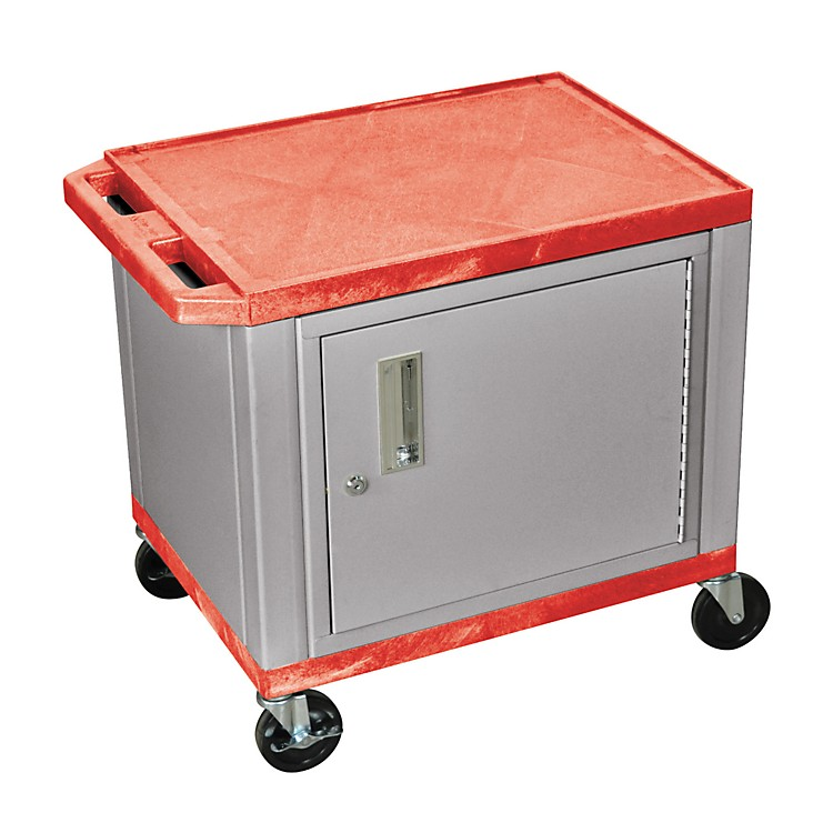 H. Wilson Adjustable-Height Tuffy Cart with Lockable Cabinet Red and Nickel Small-Large