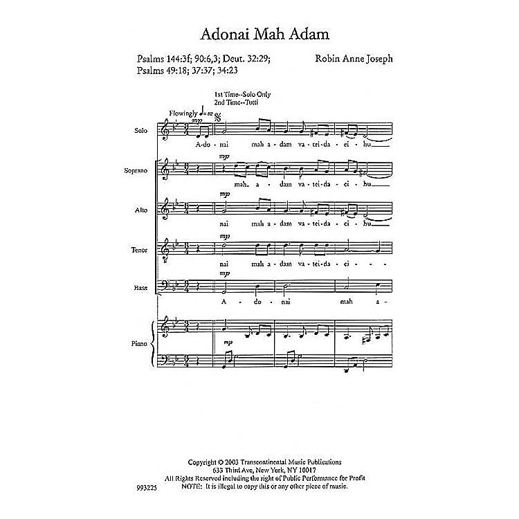 Transcontinental MusicAdonai Mah Adam (O God, What Are We?) SATB composed by Robin Joseph