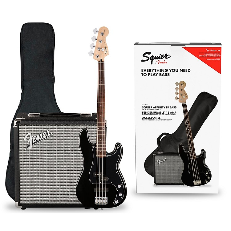Squier Affinity PJ Bass Pack with Fender Rumble 15G Amp Black