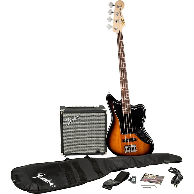 SquierAffinity Series Jaguar Bass SS Pack with Fender Rumble 15W Bass Combo AmpBrown Sunburst