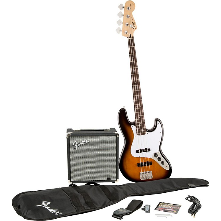 SquierAffinity Series Jazz Bass Pack with Fender Rumble 15W Bass Combo AmpBrown Sunburst