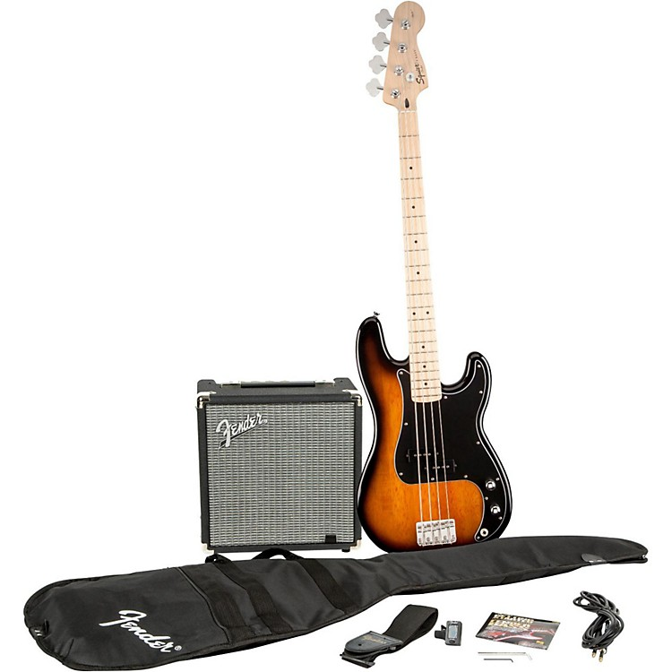 SquierAffinity Series Precision Bass Pack with Fender Rumble 15W Bass Combo AmpBrown Sunburst