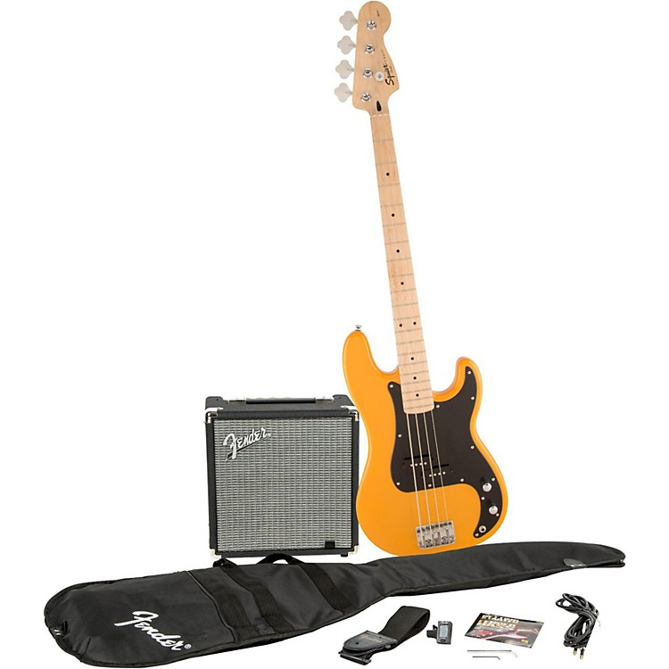 Squier Affinity Series Precision Bass Pack with Fender Rumble 15W Bass Combo Amp Butterscotch Blonde