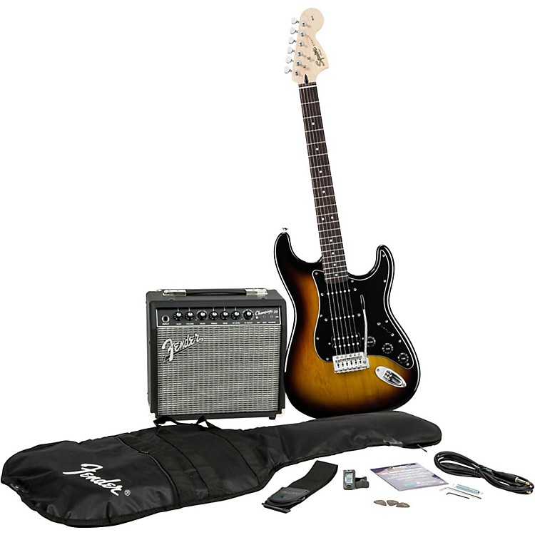 Squier Affinity Series Stratocaster HSS Electric Guitar Pack with Fender Champion 20W Guitar Combo Amp Candy Apple Red