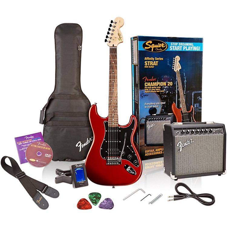 SquierAffinity Series Stratocaster HSS Electric Guitar Pack with Fender Champion 20W Guitar Combo AmpCandy Apple Red