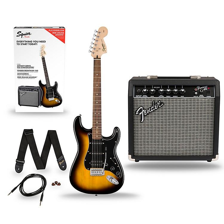 SquierAffinity Stratocaster Pack HSS Electric Guitar with Fender Frontman 15G AmpBrown Sunburst