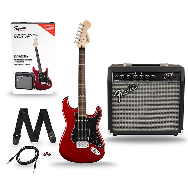 SquierAffinity Stratocaster Pack HSS Electric Guitar with Fender Frontman 15G AmpCandy Apple Red