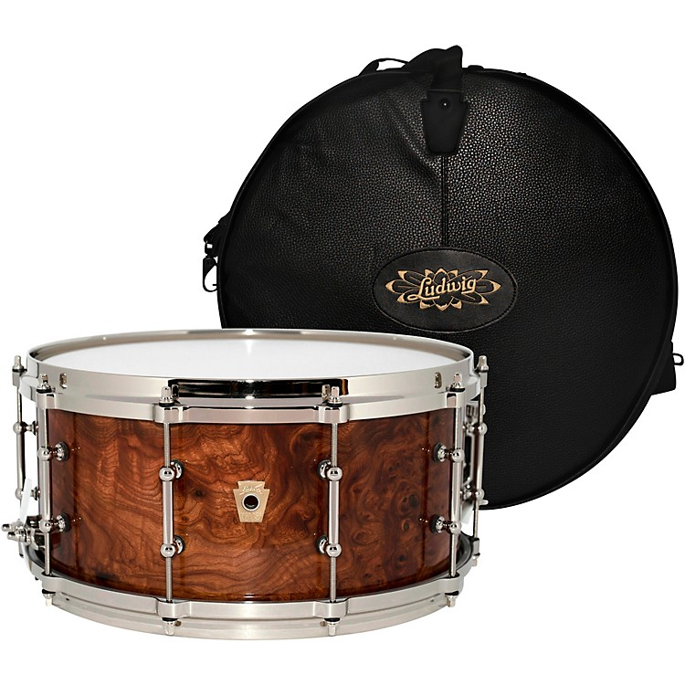 LudwigAged Exotic Carpathian Elm Limited Edition Snare Drum with Bag, 14 x 6.5 in.