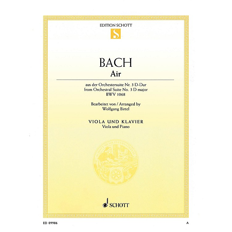 SchottAir in D Major from Orchestral Suite No. 3, BWV 1068 String Series Softcover