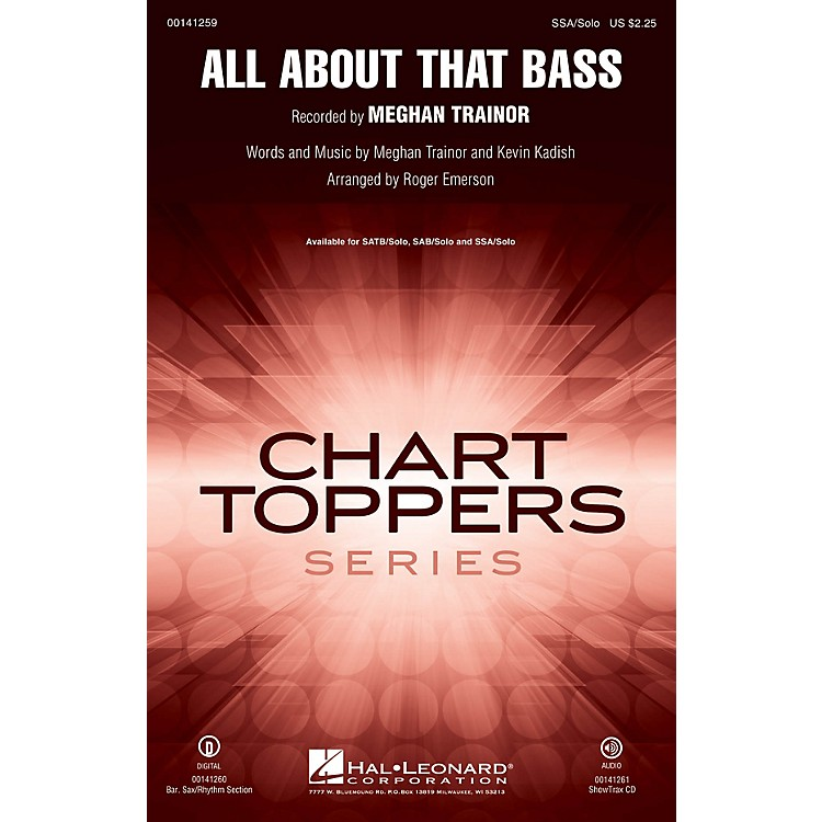Hal LeonardAll About That Bass SOP. I/II / ALTO / SOLO by Meghan Trainor arranged by Roger Emerson
