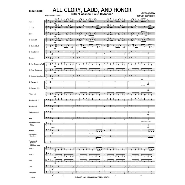 PraiseSong All Glory, Laud, and Honor (with Hosanna, Loud Hosanna) Orchestra arranged by David Winkler