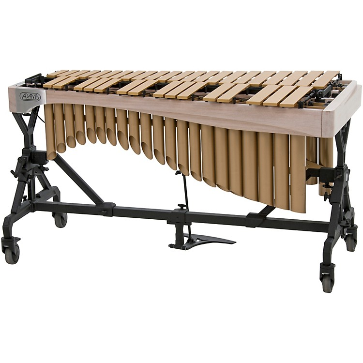Adams Alpha Series 3.0 Octave Vibraphone, Gold Bars Motor Traveler Frame White Wash Rails Satin Gold Resonators