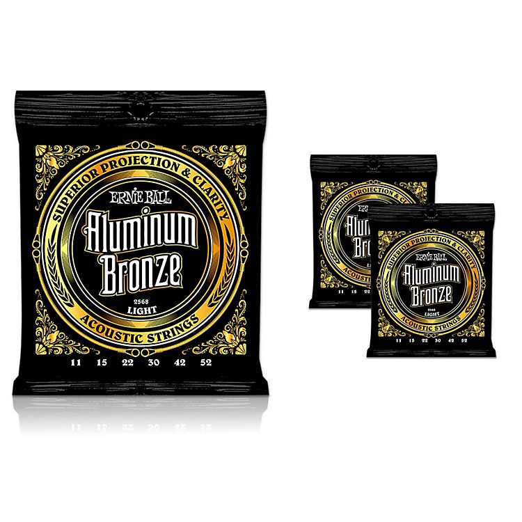 Ernie Ball Aluminum Bronze Light Acoustic Guitar Strings 3-Pack