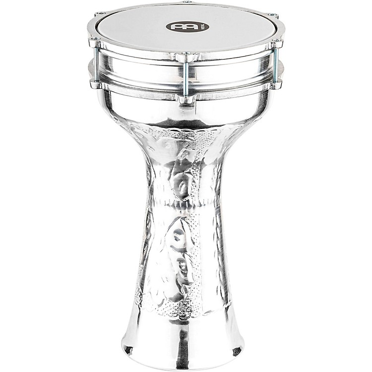 Meinl Aluminum Hand Hammered Jingle Darbuka Silver 8 1/4 In X 16 1/4 In