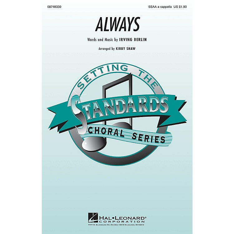 Hal Leonard Always SSAA A Cappella arranged by Kirby Shaw