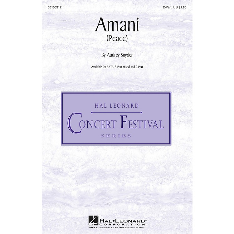 Hal Leonard Amani (Peace) 2-Part composed by Audrey Snyder