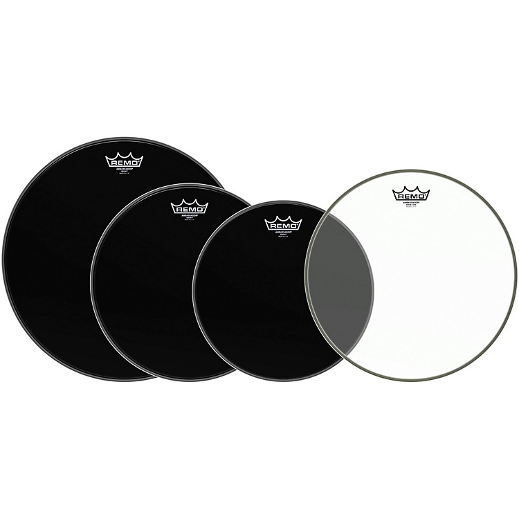 Remo Ambassador Standard Resonant Pro Pack with Free 14 in. Ambassador Hazy Snare-Side Drum Head Ebony