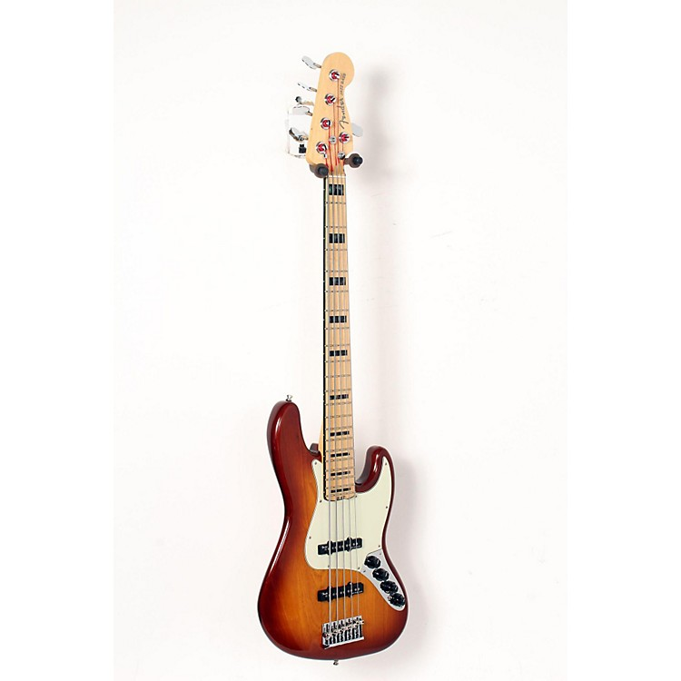 Fender American Elite Jazz Bass V, Maple Electric Bass Guitar Tobacco Sunburst 888365904825