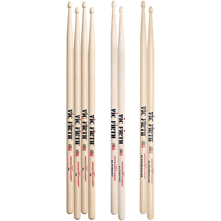 Vic FirthAmerican Hickory, PureGrit and DoubleGlaze Drum Stick 4-Pack5AWood