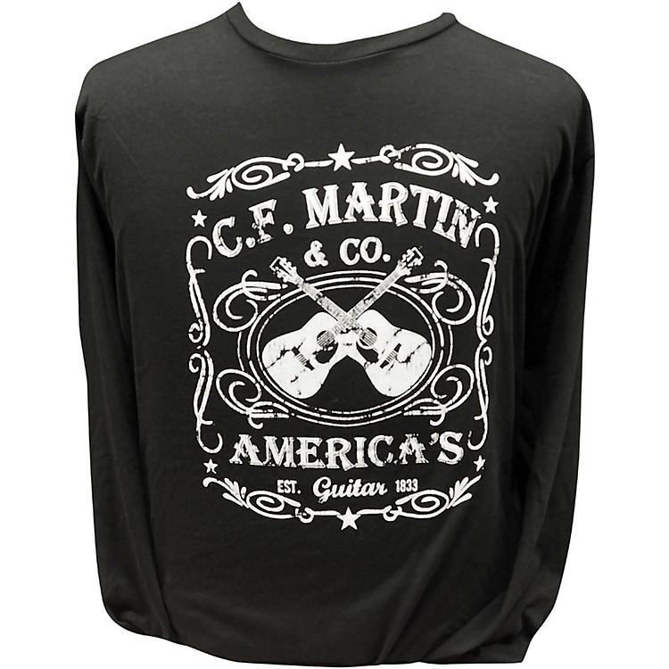 MartinAmerica's Dual Guitar Logo - Long Sleeve Black T-ShirtLarge