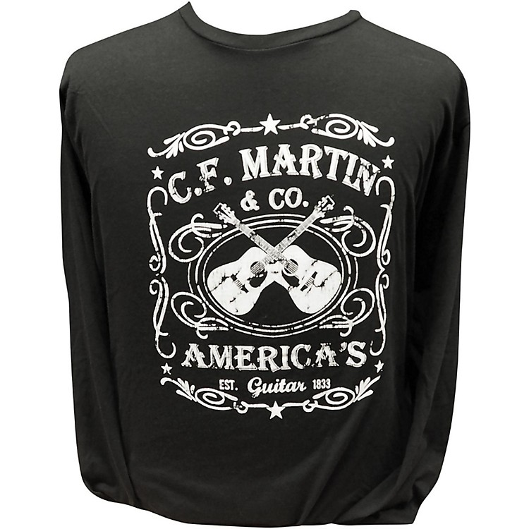Martin America's Dual Guitar Logo - Long Sleeve Black T-Shirt Small